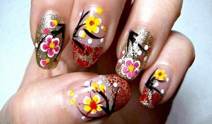 mau nail hoa dao hoa mai