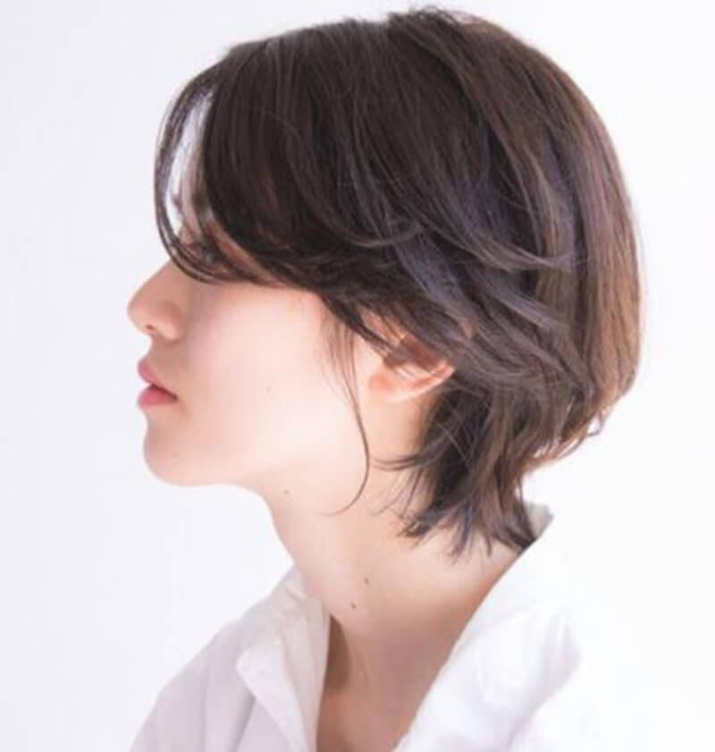 tóc ngắn cho mặt tròn đeo kính