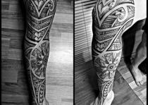 chân xăm hình Tribal Leg Tattoo